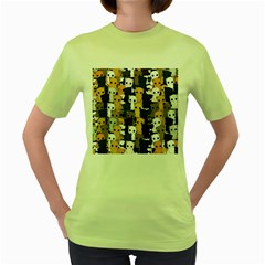 Cute Cats Pattern Women s Green T Shirt