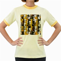 Cute Cats Pattern Women s Fitted Ringer T Shirts