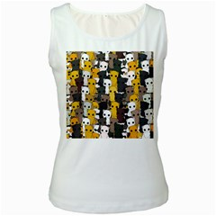 Cute Cats Pattern Women s White Tank Top