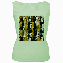 Cute Cats Pattern Women s Green Tank Top