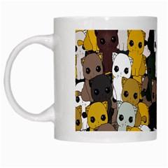 Cute Cats Pattern White Mugs