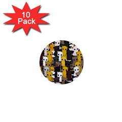 Cute Cats Pattern 1  Mini Buttons (10 Pack)
