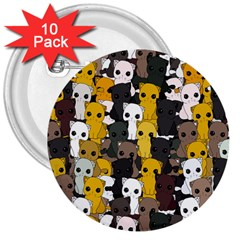 Cute Cats Pattern 3  Buttons (10 Pack)