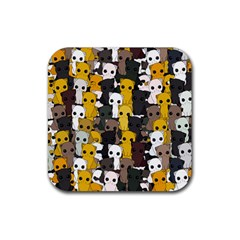 Cute Cats Pattern Rubber Square Coaster (4 Pack)