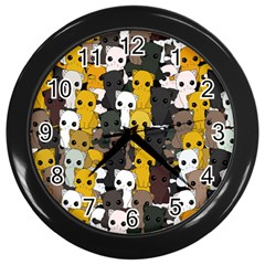 Cute Cats Pattern Wall Clocks (black)