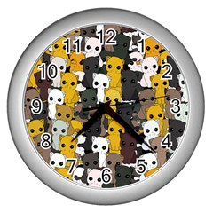 Cute Cats Pattern Wall Clocks (silver)