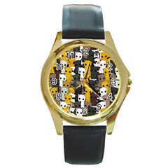 Cute Cats Pattern Round Gold Metal Watch