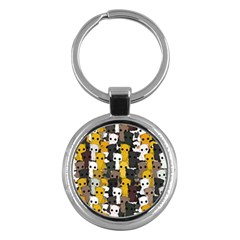 Cute Cats Pattern Key Chains (round)