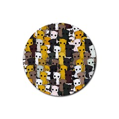Cute Cats Pattern Rubber Round Coaster (4 Pack)