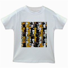 Cute Cats Pattern Kids White T Shirts