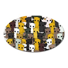 Cute Cats Pattern Oval Magnet