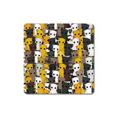 Cute Cats Pattern Square Magnet