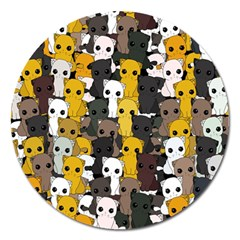 Cute Cats Pattern Magnet 5  (round)
