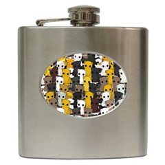 Cute Cats Pattern Hip Flask (6 Oz)
