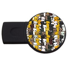 Cute Cats Pattern Usb Flash Drive Round (2 Gb)