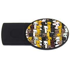 Cute Cats Pattern Usb Flash Drive Oval (2 Gb)