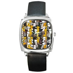 Cute Cats Pattern Square Metal Watch