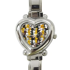 Cute Cats Pattern Heart Italian Charm Watch