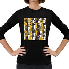 Cute Cats Pattern Women s Long Sleeve Dark T Shirts