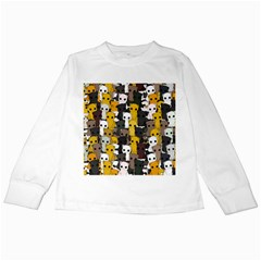 Cute Cats Pattern Kids Long Sleeve T Shirts