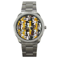 Cute Cats Pattern Sport Metal Watch