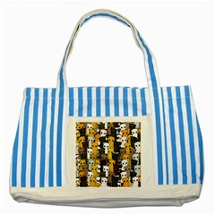 Cute Cats Pattern Striped Blue Tote Bag