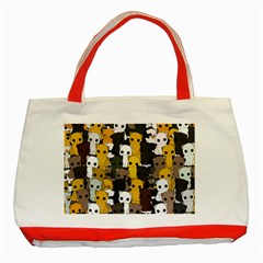 Cute Cats Pattern Classic Tote Bag (red)