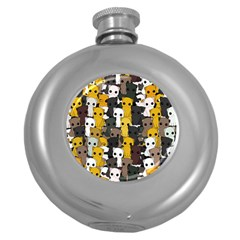 Cute Cats Pattern Round Hip Flask (5 Oz)