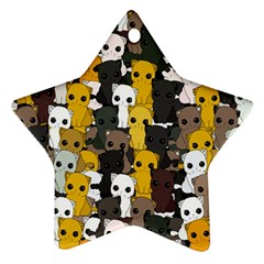 Cute Cats Pattern Star Ornament (two Sides)