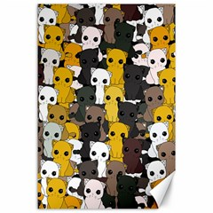 Cute Cats Pattern Canvas 24  X 36