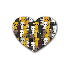 Cute Cats Pattern Heart Coaster (4 Pack)