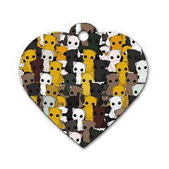 Cute Cats Pattern Dog Tag Heart (one Side)