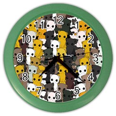 Cute Cats Pattern Color Wall Clocks