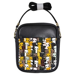 Cute Cats Pattern Girls Sling Bags
