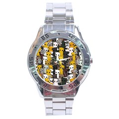 Cute Cats Pattern Stainless Steel Analogue Watch