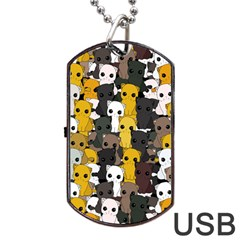 Cute Cats Pattern Dog Tag Usb Flash (two Sides)