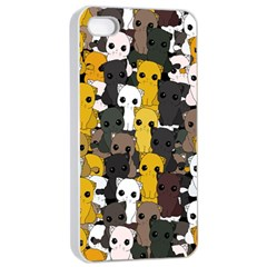 Cute Cats Pattern Apple Iphone 4/4s Seamless Case (white)