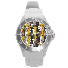 Cute Cats Pattern Round Plastic Sport Watch (l)