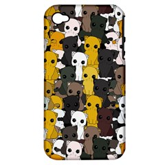 Cute Cats Pattern Apple Iphone 4/4s Hardshell Case (pc+silicone)