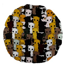 Cute Cats Pattern Large 18  Premium Round Cushions