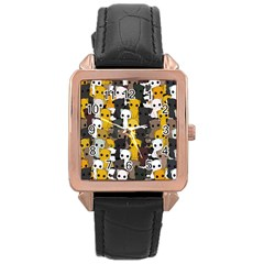 Cute Cats Pattern Rose Gold Leather Watch
