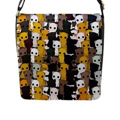 Cute Cats Pattern Flap Messenger Bag (l)
