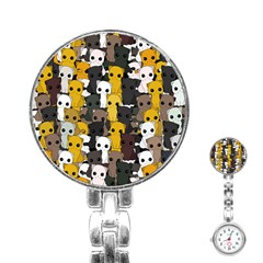 Cute Cats Pattern Stainless Steel Nurses Watch