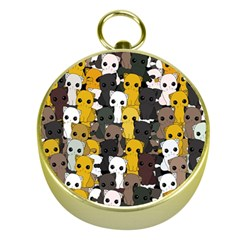 Cute Cats Pattern Gold Compasses