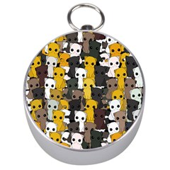 Cute Cats Pattern Silver Compasses