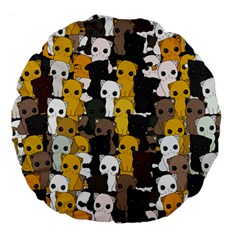 Cute Cats Pattern Large 18  Premium Flano Round Cushions