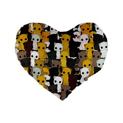 Cute Cats Pattern Standard 16  Premium Flano Heart Shape Cushions