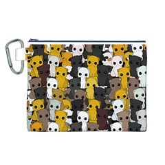 Cute Cats Pattern Canvas Cosmetic Bag (l)