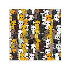 Cute Cats Pattern Small Satin Scarf (square)