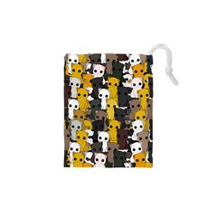 Cute Cats Pattern Drawstring Pouches (xs)